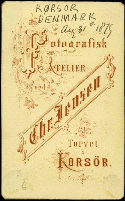 Back Of Carte De Visite From Studio Christian Jensen Korsr 3181879